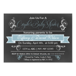 chalkboard blue Couple's Baby shower Invitation