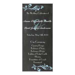Chalkboard blue damask wedding programs personalized rack card