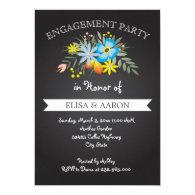 Chalkboard blue flowers wedding engagement party 5