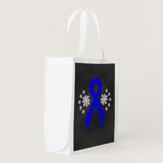 Chalkboard Blue Ribbon Reusable Grocery Bag