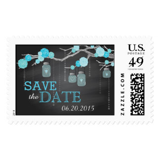 Chalkboard Blue Roses on Branch Save the Date Postage Stamp