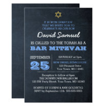Chalkboard Blue Star of David Bar Mitzvah Card