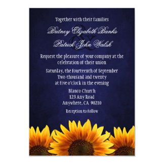 "Chalkboard Blue Sunflower Wedding Invitations 5"" X 7"" Invitation Card"
