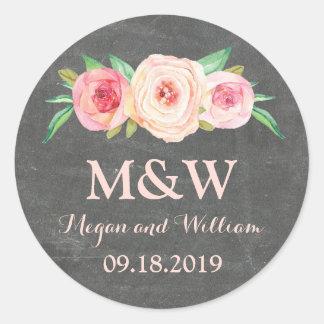Chalkboard Blush Pink Floral Monogram Wedding Classic Round Sticker
