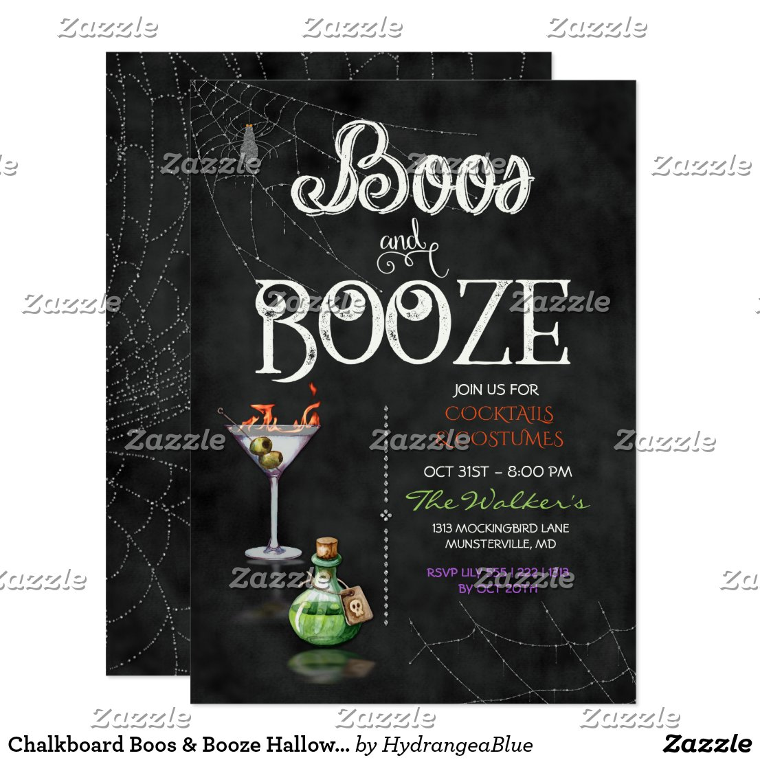 Chalkboard Boos & Booze Halloween Cocktail Party Card