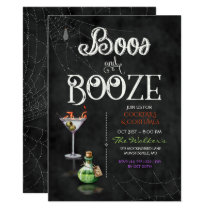 Chalkboard Boos & Booze Halloween Cocktail Party Invitation