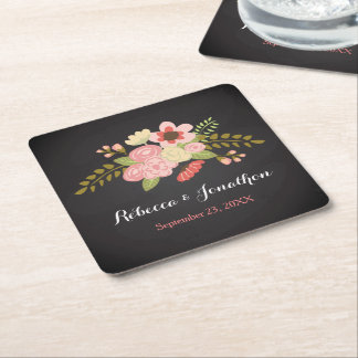 Chalkboard Botanical Flower Paper Coasters Square Paper Coaster