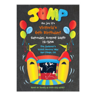 Chalkboard Bounce House BIrthday Party Invitation Personalized Invite