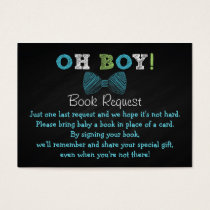Chalkboard Bow Tie Baby Shower Book Request Cards