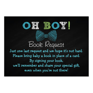 Chalkboard Bow Tie Baby Shower Book Request Cards Large Business Cards (Pack Of 100)