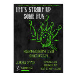 chalkboard, bowling, party, invitations