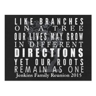 Chalkboard Branches Tree Family Reunion Invitation Postcard