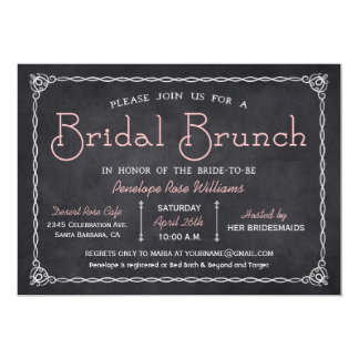 "Chalkboard Bridal Brunch Bridal Shower Invitations 5"" X 7"" Invitation Card"