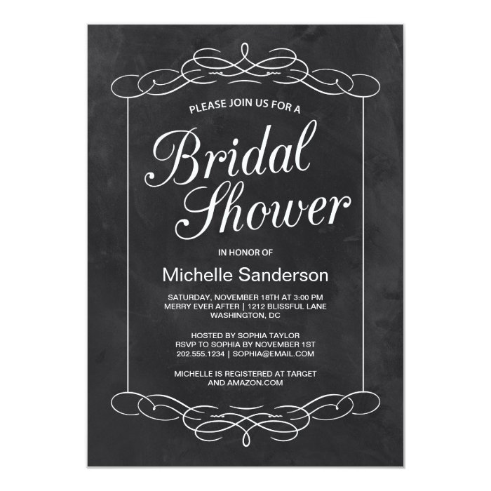 Chalkboard Bridal Shower Card