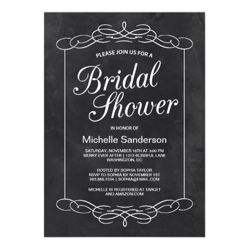 Chalkboard Bridal Shower Custom Announcement