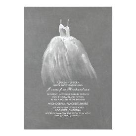 Chalkboard Bridal Shower Elegant Vintage Gown Card