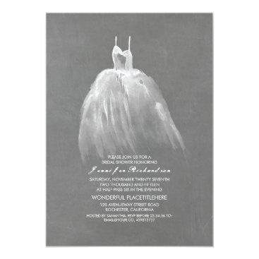 jinaiji Chalkboard Bridal Shower Elegant Vintage Gown Card