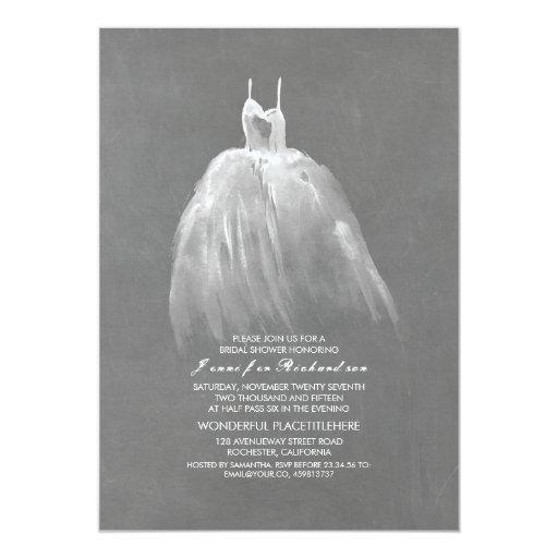 Chalkboard Bridal Shower Elegant Vintage Gown Invitation