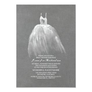Chalkboard Bridal Shower Elegant Wedding Gown Card at Zazzle
