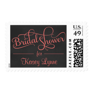 Chalkboard Bridal Shower Fancy Script Postage