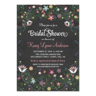 Chalkboard Bridal Shower Floral Wreath Invitations