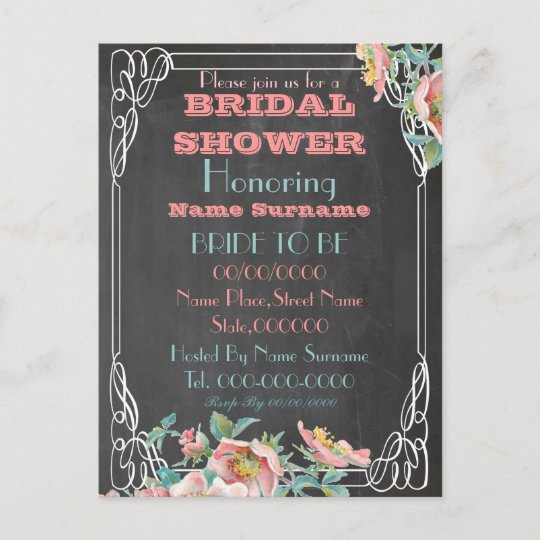 Chalkboard bridal shower invitation zazzle chalkboard bridal shower invitation filmwisefo