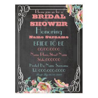 chalkboard bridal shower invitation postcard