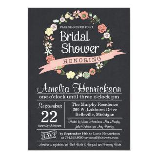 Chalkboard Bridal Shower Invitation with wreath