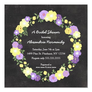 Chalkboard Bridal Shower Invites / purple yellow