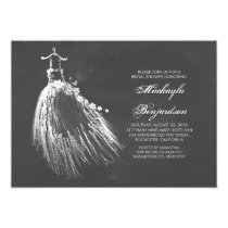 Chalkboard Bridal Shower with Wedding Gown Invitation