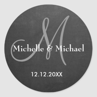 Chalkboard Bride And Groom Monogram Classic Round Sticker