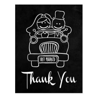 Chalkboard Bride And Groom Thank You Post Card Postcard