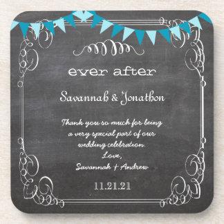 Chalkboard Bride & Groom Wedding Coaster