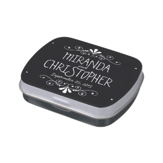 Chalkboard Bride & Groom Wedding Favor Candy Tin