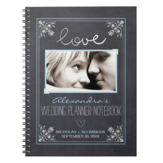 Chalkboard Bride Wedding Planner Notebook (blue)