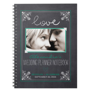 Chalkboard Bride Wedding Planner Notebook (green)