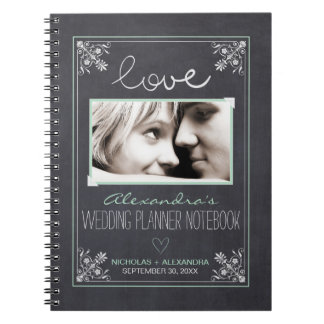 Chalkboard Bride Wedding Planner Notebook (mint)