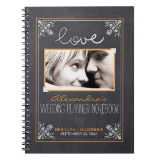 Chalkboard Bride Wedding Planner Notebook (orange)