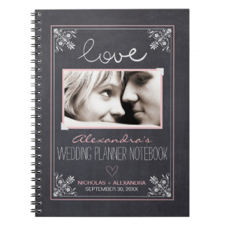 Chalkboard Bride Wedding Planner Notebook (pink)