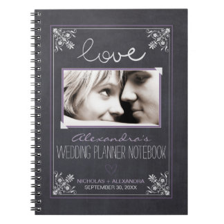 Chalkboard Bride Wedding Planner Notebook (purple)