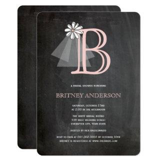 Chalkboard Bride's Veil Monogram Bridal Shower Card