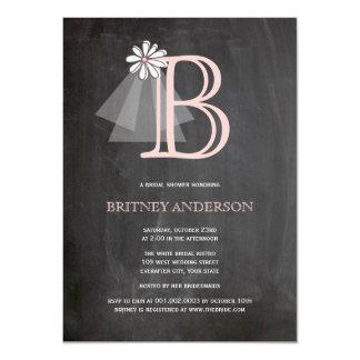 Chalkboard Bride's Veil Monogram Bridal Shower Announcement