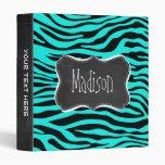 Chalkboard; Bright Turquoise Zebra Animal Print 3 Ring Binder