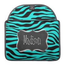 Chalkboard; Bright Turquoise Zebra Animal Print MacBook Pro Sleeve