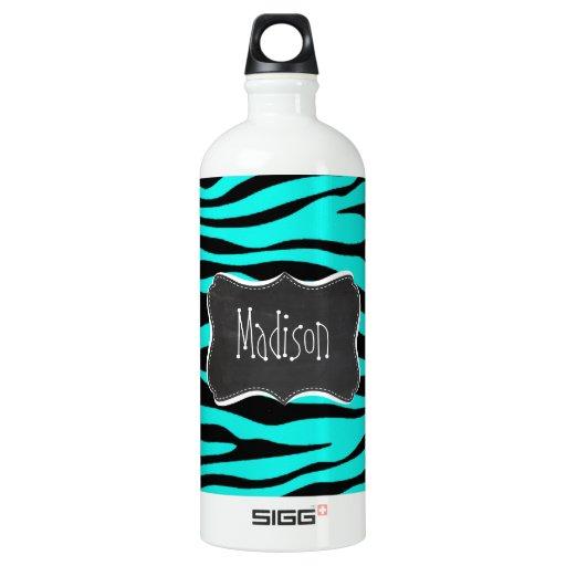 Chalkboard; Bright Turquoise Zebra Animal Print SIGG Traveler 1.0L Water Bottle