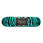 Chalkboard; Bright Turquoise Zebra Animal Print Skateboard Deck