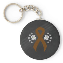 Chalkboard Brown Ribbon Keychain