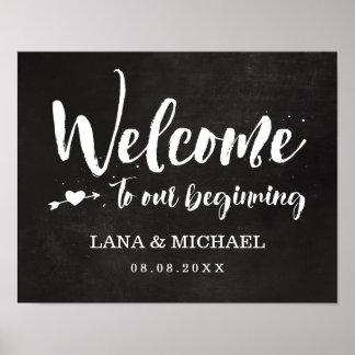 Chalkboard Brush Script Welcome Poster