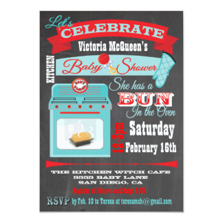 "Chalkboard ""Bun in the oven"" Baby Shower Invites"