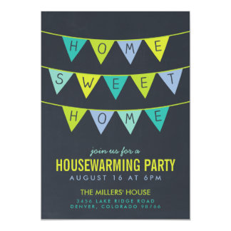 Chalkboard Bunting Housewarming Party 5x7 Paper Invitation Card